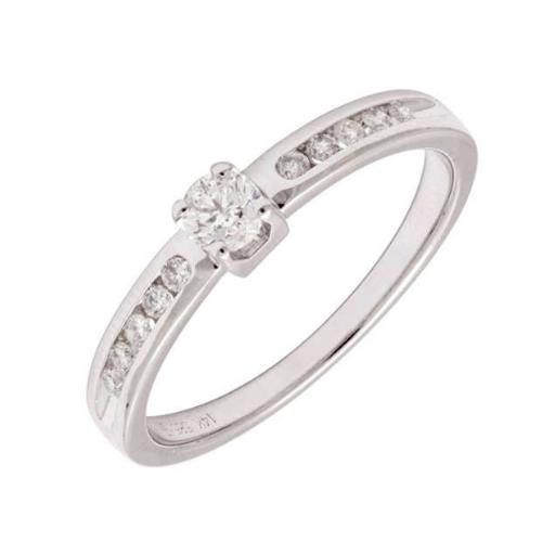 Womens 14K Round Diamond Engagement Ring In White Gold